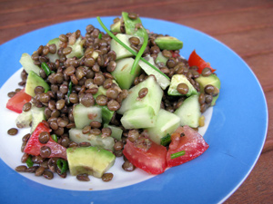 Salade lentilles avocat tomate
