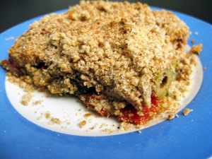 Crumble tomates courgettes olives
