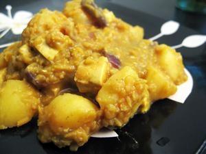 Curry lentilles tofu