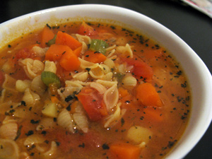 Soupe minestrone à la courge