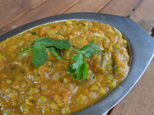 Curry de champignons et petits pois