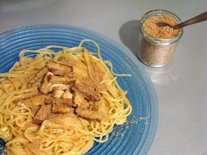 Spaghetti carbonara parmesan vegetalien