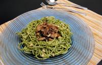 Pâtes pesto oseille et champignons shiitakés